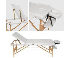 TecTake Camilla de masaje mesa de masaje banco 3 zonas plegable blanco + bolsa
