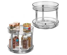 mDesign Juego de 2 especieros giratorios con dos pisos – Práctico estante para especias para los armarios de la cocina o la encimera – Soporte giratorio de plástico para condimentos – gris humo
