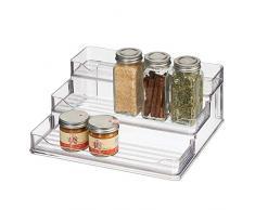 mDesign Organizador de Especias - Prácticos estantes especieros de plástico con 3 Niveles - Organizador de armarios para Guardar Las Especias y Otros Alimentos empaquetados - Transparente
