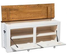 Pasillo banco de almacenamiento armario zapatero en color blanco 120 cm de ancho