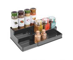 mDesign Especiero para armario de cocina - Estante extensible para almacenar condimentos y ordenar la cocina - Organizador de especias adaptable con tres niveles - gris oscuro