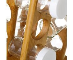 Especiero bambú con 12 botes (23.5x15x15)