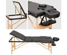 TecTake Camilla de masaje mesa de masaje banco 3 zonas plegable negro + bolsa