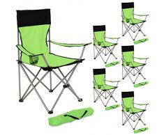 TecTake 6x Silla de camping plegable negro verde + Portabebidas + Práctica bolsa de transporte