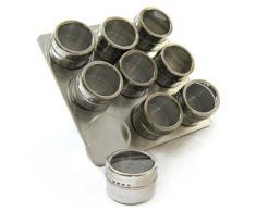 Yudu - Juego de especieros imantados y soporte de acero inoxidable (10 piezas)
