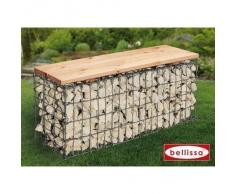 bellissa banco de jardn con piedras gabione lxbxh cm asiento de madera