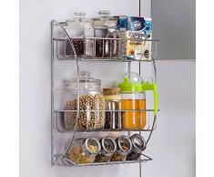 conveniente Estante de la cocina creativa del estante estantes Estante especiero condimento rack de 3 capas de la pared del metal Estante colgante práctico ( Color : La Plata )