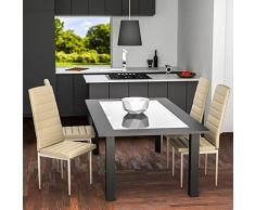 TecTake Set de 4 sillas de comedor 41x45x98,5cm beige