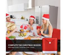 Ruikey Navidad Red Hat Silla de respaldo de la tapa de Navidad de fiesta Decoración de la mesa de comedor para el restaurante del hotel Conjunto de 6
