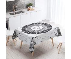 Mantel para Mesa Impermeable Antimanchas, Chickwin Sol Luna 3D Patrón Cocina Comedor Rectangular Resistente al Desgaste Lavable Mantel de Poliéster (60x60cm,Sol blanco)
