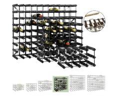 Sistema Botellero modular TREND, máx. 42 botellas, roble oscuro, ampliable / apilable - alt. 61,2 x anch. 61,2 x pr. 22,8 cm