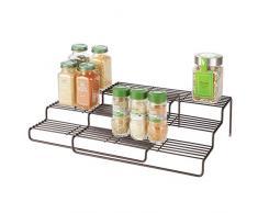 mDesign Estantería para especias para muebles de cocina - Estante especiero extensible para mantener el orden en la cocina - Mueble para especias de metal inoxidable con 3 niveles - color bronce
