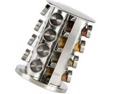 Especiero giratorio de acero inoxidable para condimentos, organizador de almacenamiento, torre para especias para cocina, juego de 16 tarros