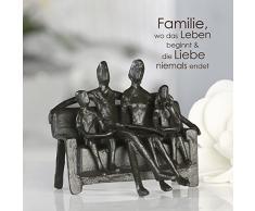 Casablanca – Figura decorativa, escultura, – Sitting Family, familia en banco – Hierro bruñido – 12 cm