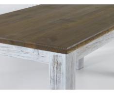 Mesa de comedor de madera de pino aprox 180 x 90 cm en blanco envejecido/tablero de madera de roble