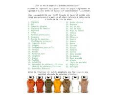 Especiero, Estantería de Madera para condimentos y Especias, tarros de Cristal, Gald - 30N Negro satén