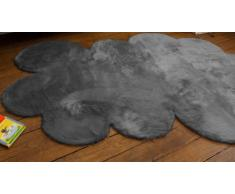 Pilepoil - Alfombra infantil, diseño de nube, color gris oscuro 140 x 200 cm - piel artificial - Fabricado en Francia