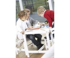 Pinolino 202420 Timo - Set infantil de mesa y bancos de madera, color blanco