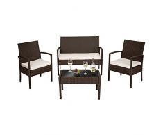 TecTake Conjunto muebles de Jardín en Poly Ratan Sintetico antiguo 4 plazas, 2 sillones, 1 mesa baja, 1 banco