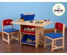 KidKraft- Juego de mesa y 2 sillas de madera con corazón con compartimentos de almacenamiento, cuarto de juegos para niños / muebles de dormitorio Heart , Color Rojo y azul (26912)