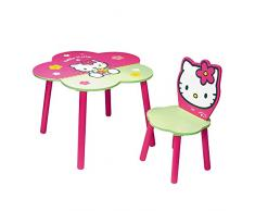 Hello Kitty - Conjunto de mesa y silla de madera con flor, color rosa (Giros AB711184)