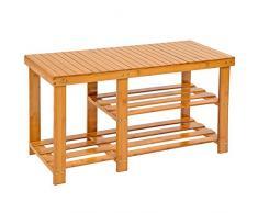 TecTake Estantería Zapatero de Madera bambú para Calzado - Varios Modelos - (87x28x45.5cm con Banco | No. 401649)