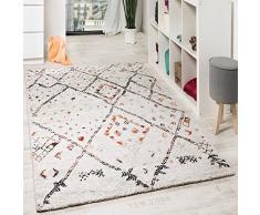 Paco Home Alfombra De Diseño Moderna con Cuadros Y Motivos Nómadas Mezclada Crema Naranja, tamaño:120x170 cm