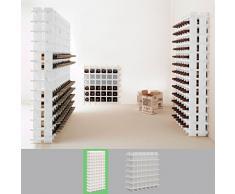 Sistema botellero modular PRIMAVINO, máx. 78 botellas, madera de pino, teñido blanco, apilable / ampliable - alt. 150 x anch. 75 x pr. 22 cm