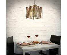 Relaxdays 10018899 - Lampara colgante, madera original, efecto craquelado, con cadena de 46 cm largo