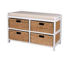 CANTERBURY - Banco de almacenaje con cestas - color moreno blanco
