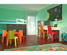 Resol Julieta Set Infantil de 4 Sillas y 1 Mesa, Plástico y Polipropileno, 1 Mesa Rosa + 4 Sillas Roja/Naranja/Azul/Lima, 60x51x78 cm, 5 Unidades