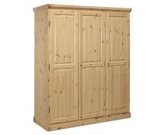 Arredamenti Rustici Armario 3 puertas de madera pino macizo - color miel