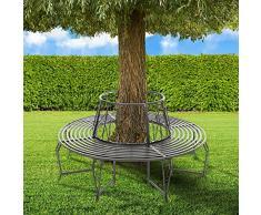 TecTake Banco para árbol jardin (164 x 164 x 84,5 cm) - antracita -