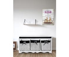 Rebecca SRL asiento banco de almacenamiento armario 1 acolchado asiento 3 cajones mimbre - madera color blanco negro de tela Pasillo Cocina (Cod. 0 - 1505)