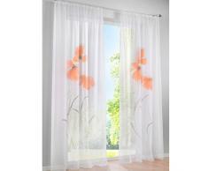 SIMPVALE 2 Paneles Cortina de Estampado Floral visillos Transparente para Sala y Balcón, Amplitud 150cm (Naranja, Altura 245cm)
