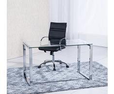 Adec - Mesa de Estudio Benetto XL, Mesa de Escritorio, Mesa de Despacho Cristal Transparente y Patas Metal Cromado, Medidas: 120 cm (Largo) x 60 cm (Ancho) x 75 cm (Alto)