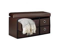 Relaxdays – Banco de almacenaje Rectángulo plegable con 6 compartimentos extraíbles taburete almacenaje Otomano con asiento puf simili-cuir baúl plegable 38 x 76 x 38 cm, marrón