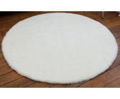 Pilepoil - Alfombra infantil, diseño de redonda , color blanco D 140 cm - piel artificial - Fabricado en Francia