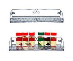 Especieros de Pared (2 Piezas) - 40x9x8.5cm - Gris plateado Estante Especias para Organizador de Condimentos - Organizador para Puerta Despensa Estantería de Pared Especiero para Cocina, Alacena