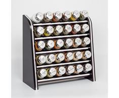 Gald Poland Especiero, Estantería de madera para condimentos y especias, tarros de cristal, Gald – 30N silver line negro brillante