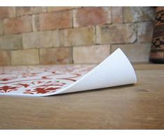 Laroom Alfombra Vinílica de Cocina Diseño Estoril, Vinilo Antiliscante, Rojo, 65x100 cm