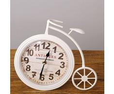 Vintage Reloj de mesa velo cipe Blanco de metal en rueda de bicicleta diseño