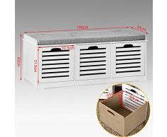 SoBuy® Banco de almacenamiento con acolchados cojines y 3 cubos, entrada zapato gabinete Dresser cómodo banco FSR23-W, ES