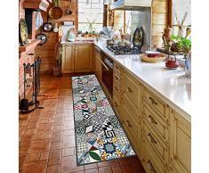 Alfombra de cocina, lavable en lavadora, alfombra cocina,52cm x 140cm, antiácaros, antideslizante, alfombra de cocina diseño geométrico,100% made in Italy,alfombra de cocina diseño de impresión digital