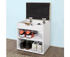 SoBuy® Armario zapatero, Taburete, puff caja, banco, estantería para zapatos, blanco, FSR25-K-W
