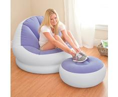 Intex - Set de sillón hinchable de 104 x 109 x 71 cm y reposapiés hinchable de 64 x 28 cm, color violeta (75850)