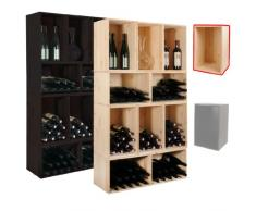 Botellero / Caja de Madera VENETO, pino natural, máx. 18 botellas, apilable / ampliable - alt. 30 x anch. 45 x pr. 30 cm