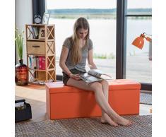 Relaxdays Banco plegable, Baúl de almacenaje, Cuero sintético, 38 x 114 x 38 cm, Naranja