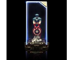 Marvel Super Hero: Capitán América, figura de colección, 17cm de altura, en una vitrina iluminada