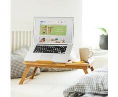 Relaxdays - Mesa plegable para portatil, Bambú, altura ajustable, 30.5 x 72.5 x 35 cm, 2.1 Kg